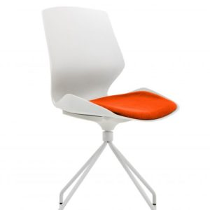 Florence Spindle White Frame Visitor Chair in Tabasco Red