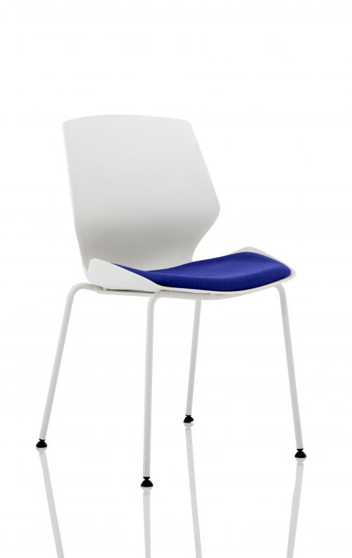 Florence White Frame Visitor Chair in Stevia Blue