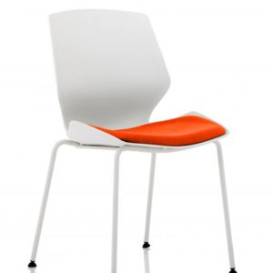 Florence White Frame Visitor Chair in Tabasco Red
