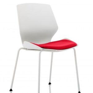 Florence White Frame Visitor Chair in Bergamot Cherry