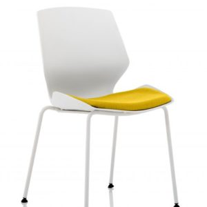 Florence White Frame Visitor Chair in Senna Yellow