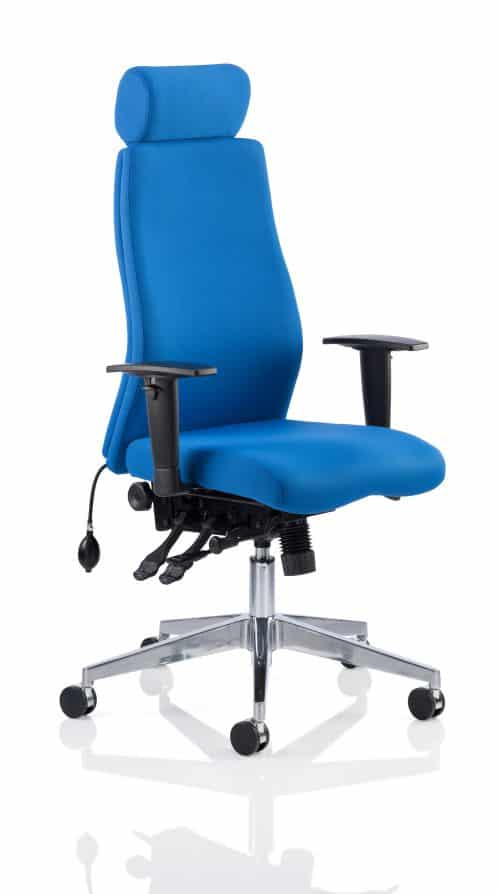 Onyx Ergo Posture Chair Blue Fabric With Headrest With Arms